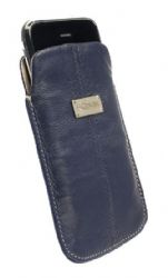 Krusell 95216 Luna Large Universal Leather Pouch - Navy/Sand