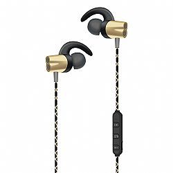 RevJams Play 3 Premium Metallic In-Ear Bluetooth Stereo Earbuds with Mic -Gold