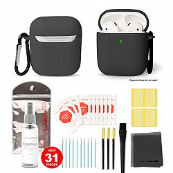 RevJams Complete 25pcs Cleaning Kit for Portable Audio Devices with Black AirPods case