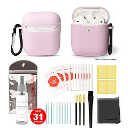 RevJams 31pc Cleaning Kit and Hard Case COMBO for Apple AirPods & AirPods 2 - Our Specially Formulated Cleaning Solution, Microfiber Cloth, Safe Brushes, Dust Stickers, Swabs, and More, New Version! Pink