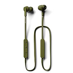JAYS t-Four Wireless In-Ear Bluetooth Earbuds w/Kevlar Reinforced Cable, Deep Bass, Microphone and 10hrs of Playback (Moss Green)